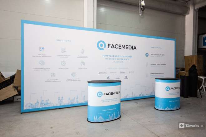 Exhibition wall 5x2,5m, textile printing